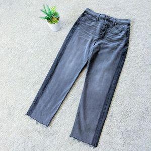 Madewell Grey Dark Stripe Classic Straight Jeans